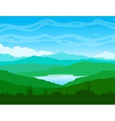 Mountain landscape with blue lake vector image