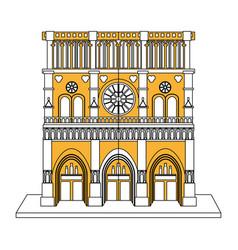 Notre dame de paris cathedral icon image vector