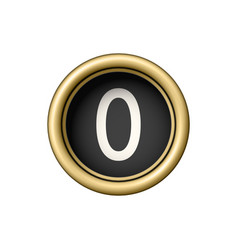 number 0 vintage golden typewriter button vector image