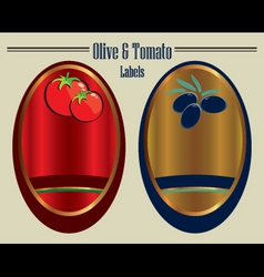 olive and tomato labels vector image vector image
