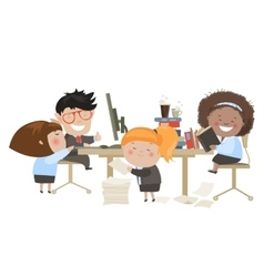 People working at the computers in office vector