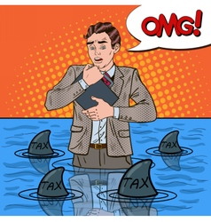 Pop art worried businessman swimming with sharks vector