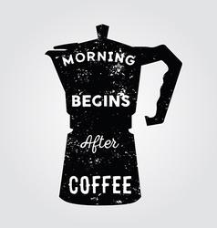 Realistic italian metalic coffee maker and hand vector image