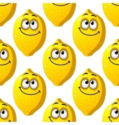Seamless pattern of smiling yellow lemons vector