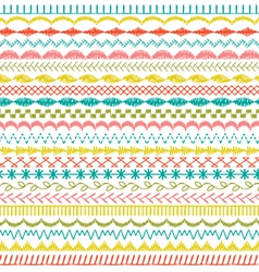 Sewing stitch border patterns vector