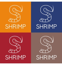 Shrimp monogram vector