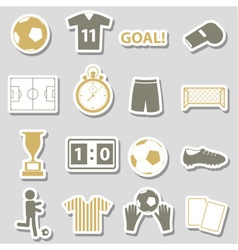 soccer football simple black stickers set eps10 vector image vector image