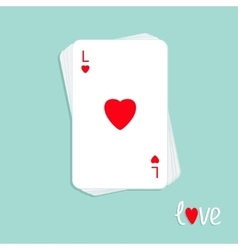 Stack of poker playing card with red heart sign vector