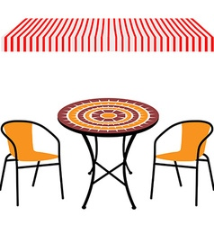 Table chairs and awning vector image vector image