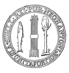 The first seal of new hampshire vintage vector