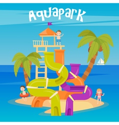 Water park summer vacation fun aquapark water hill vector