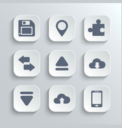 Web icons set - white app buttons vector