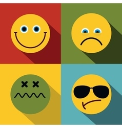 Emoji emoticons icons in flat style on color vector