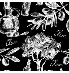 Vintage olive seamless pattern vector image