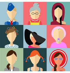Set of flat style female characters vector