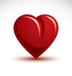 3d elegant red love heart isolated valen vector