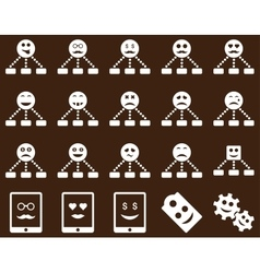 Smile emotion relations and tablet icons vector