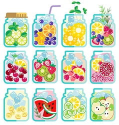 Collection of infused water with mixed fresh fruit vector