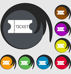 Ticket icon sign symbols on eight colored buttons vector