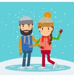 Happy winter time young couple skates vector