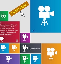 Video camera icon sign buttons modern interface vector