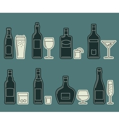 Beverages and drinks thin icons vector