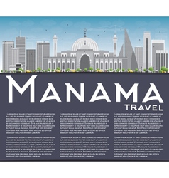 Manama skyline with gray buildings and copy space vector