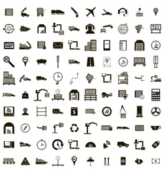 100 logistics icons set simple style vector
