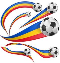 Romania flag set with soccer ball vector