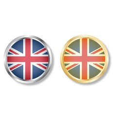 Uk flag button with silver and gold vector