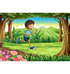 A boy running at the jungle vector image vector image