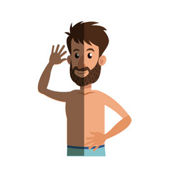 Bearded man without shirt shadow vector