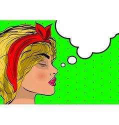 Beautiful pop srt girl dreams portrait vector image