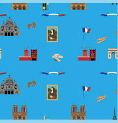blue paris seamless pattern hand-drawn landmarks vector image vector image