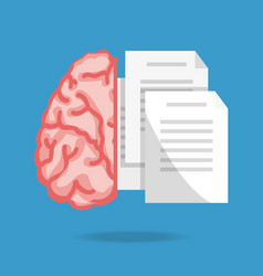 Brain and text notes to knowledge education vector