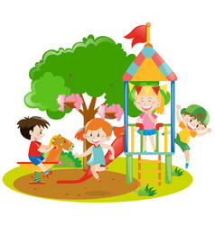 Children playing in the backyard vector
