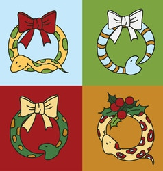 Cute snake wreaths for the new year of the snake w vector