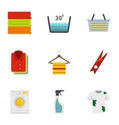 domestic washing icons set flat style vector image