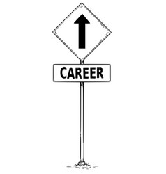 Drawing of one way arrow traffic sign with career vector