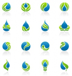 drops and leaves design elements vector image vector image