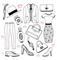 Fashion clothes and accessories set summer vector