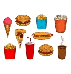 Fast food pizza sandwiches desserts and drinks vector
