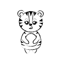 Figure cute tiger wild animal with face expression vector