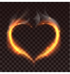 Fire heart on dark transparent background vector image