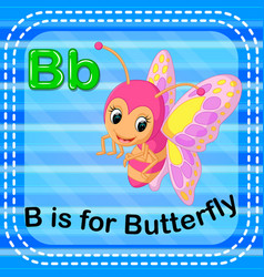 Flashcard letter b is for butterfly vector