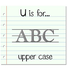 Flashcard letter u is for upper case vector