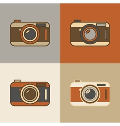 Flat retro camera icons vector image vector image