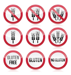 Gluten free no gluten warning signs vector
