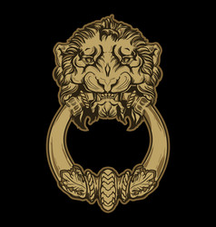 gold lion head door knocker on black background vector image vector image
