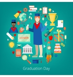 Graduation day party icons set vector